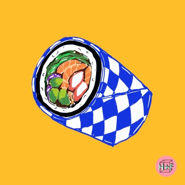 sushi burrito drawing